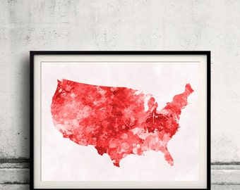 United States map in red watercolor painting abstract splatters - Fine Art Print Glicee Poster Gift Illustration Colorful USA - SKU 0716