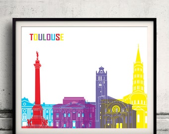 Toulouse pop art skyline 8x10 in. to 12x16 in. Fine Art Print Glicee Poster Gift Illustration Pop Art Colorful Landmarks - SKU 0725