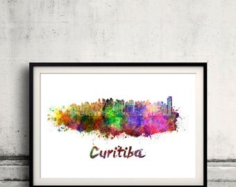 Curitiba skyline in watercolor over white background with name of city - Poster Wall art Illustration Print - SKU 1572