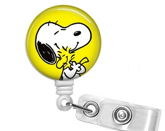 Snoopy and Best Friend Badge reel, ID Badge holder, retractable badge reel,Woodstock