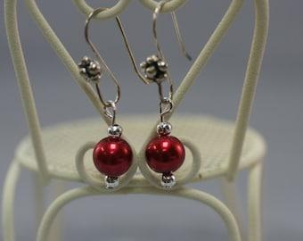 Cranberry Glass Pearl Drop Earrings