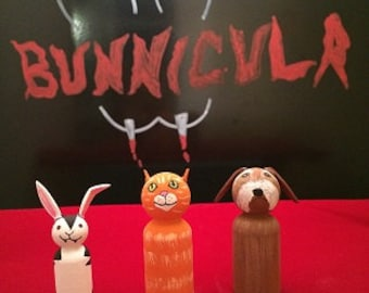 Hand Painted Wooden Peg People Inspired by Bunnicula