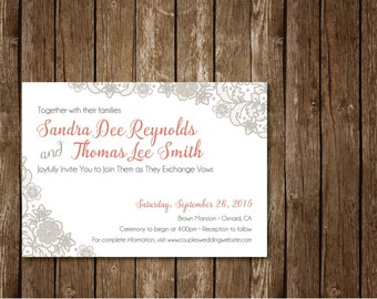 Lace Vintage Wedding Invitation, Vintage Wedding Invitation