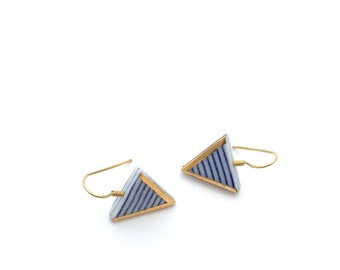 Blue and white Triangle earrings, Porcelain jewelry, sailor stripes, ceramics and gold jewelry, Minimalist earrings, Graphic pattern