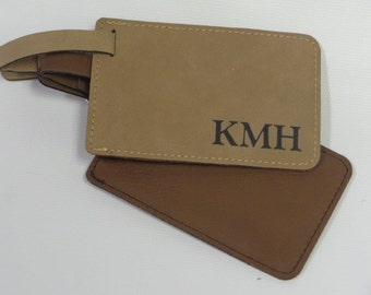 Luggage Tags w/Aluminum Address Card, Light, Dark Brown or Black Leathette Material with Laser Engraved Message or Design