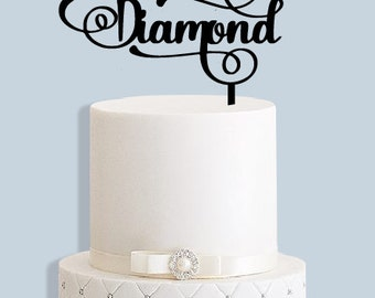 Diamond Wedding Anniversary Cake Topper
