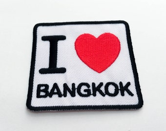 I Love BANGKOK Iron on Patch(M1) - Text, Words, Message Iron On Patch -Size 6.1x 5.8 cm