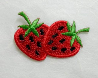 Strawberry Iron on Patch(S) - Strawberry Applique Embroidered Iron on Patch# 2