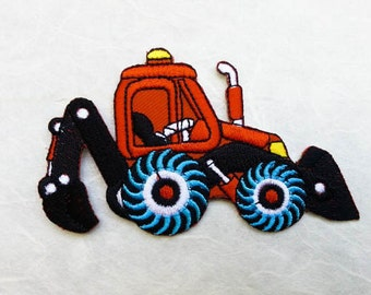 Backhoe Iron on Patch (L) 9.8 x 5.7 cm - Backhoe Applique Embroidered Iron on Patches, Patches