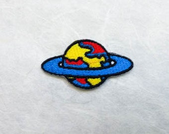 Saturn Iron on Patch (S1) - Saturn Iron on Patch / Iron on Applique - Size 4.1x2.2cm