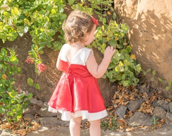 Red and Cream Lace Dress for Toddlers