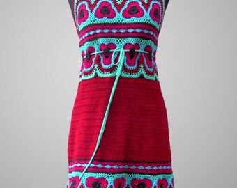 Crochet dress Bora-Bora. Poppy red casual cotton crochet dress. Made to order.