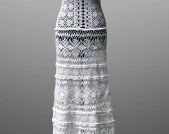 Crochet dress Daisy. Luminous white wedding or special occasion cotton crochet dress. Made to order.