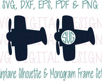 Airplane Svg Monogram frame cut Files, Plane Digital Design Cutting files for Silhouette & Cricut - Svg Dxf Eps - Instant Download