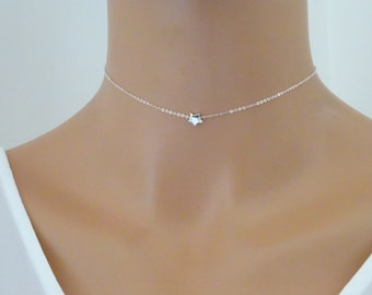 Tiny Star choker necklace, Sterling Silver Star Necklace, Floating star Necklace, Minimal Necklace, Sister necklace, Best friend gift