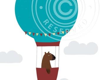 Poster bear in hot air balloon, Nursery print, A4 print, Cute poster