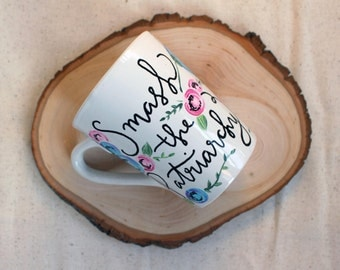 Smash the Patriarchy Hand Painted Hand Lettered Hand Painted Mug