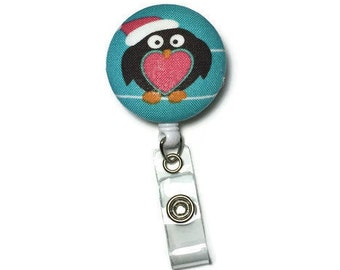 Heart penguin badge reel, retractable badge reel, fabric badge reel, badge clip, id badge holder, winter badge holder, christmas badge reel
