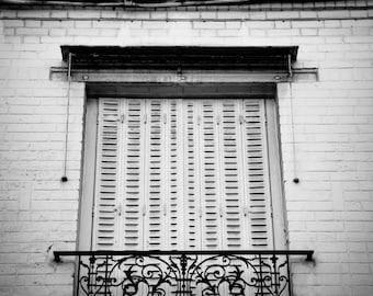 "Paris Photography, Black and White, window, paris architecture, shutters, balcony, wrought iron, brick, paris window, ""Shuttered Window"""
