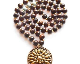 Wood Mala necklace, Yoga Necklace, Mala beads necklace, yoga gift, Meditation necklace, Prayer beads, Gemstone Necklace