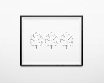 Black and White Leaves, Leaves Trio, Autumn Wall Art, Instant Download Print, Autumn Printable, Simple Print