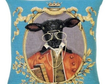 belgian tapestry cushion cover gobelin throw pillow black sheep dressed as nobleman with books