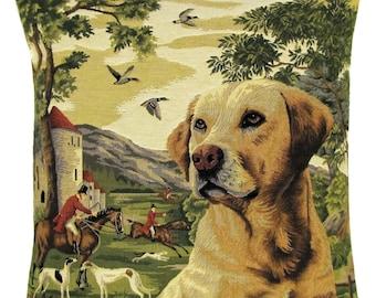 Dog Decor Pillow Cover - Yellow Labrador Throw Pillow - Labrador Lover Gift - 18x18 Belgian Tapestry Cushion