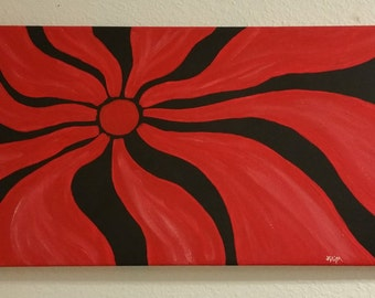 Black & Red Nova - Original Acrylic Abstract Art Painting on Stretch Canvas
