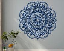 Wall Decal Mandala Ornament Lotus Flower Yoga Indian Decor Meditation Vinyl Wall Decals Murals Bedroom Yoga Studio Boho Wall Art Decor C117