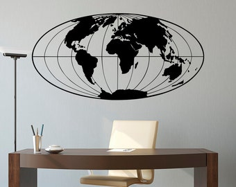 World Map Wall Decal- World Map Decal- Planet Earth Geographical Globe World Map Wall Sticker Art Home Decor For Office Living Room C041