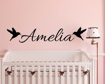 Wall Decal Name Personalized Girls- Name Wall Decal Birds- Personalized Wall Decal Nursery Girls Room Bedroom Wall Art Home Decor M068