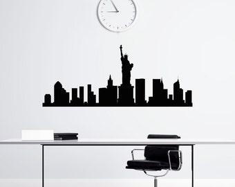 New York Skyline Wall Decal Vinyl Stickers NYC Skyline City Scape Silhouette Offiice College Dorm Living Room Wall Art Home Decor C116
