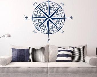 Compass Wall Decal Vinyl Stickers Nautical Decor- Nautical Compass Rose Wall  Decals For Living Room Bedroom Nursery Wall Art Home Decor C121