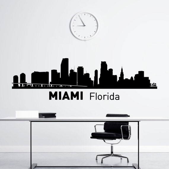 Miami Skyline Wall Decal City Silhouette Florida State Wall - Wall decals city
