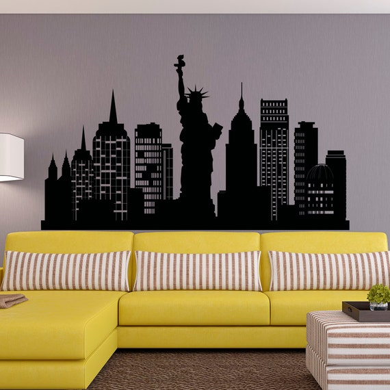 new york city skyline wall decal nyc silhouette new york wall. Black Bedroom Furniture Sets. Home Design Ideas