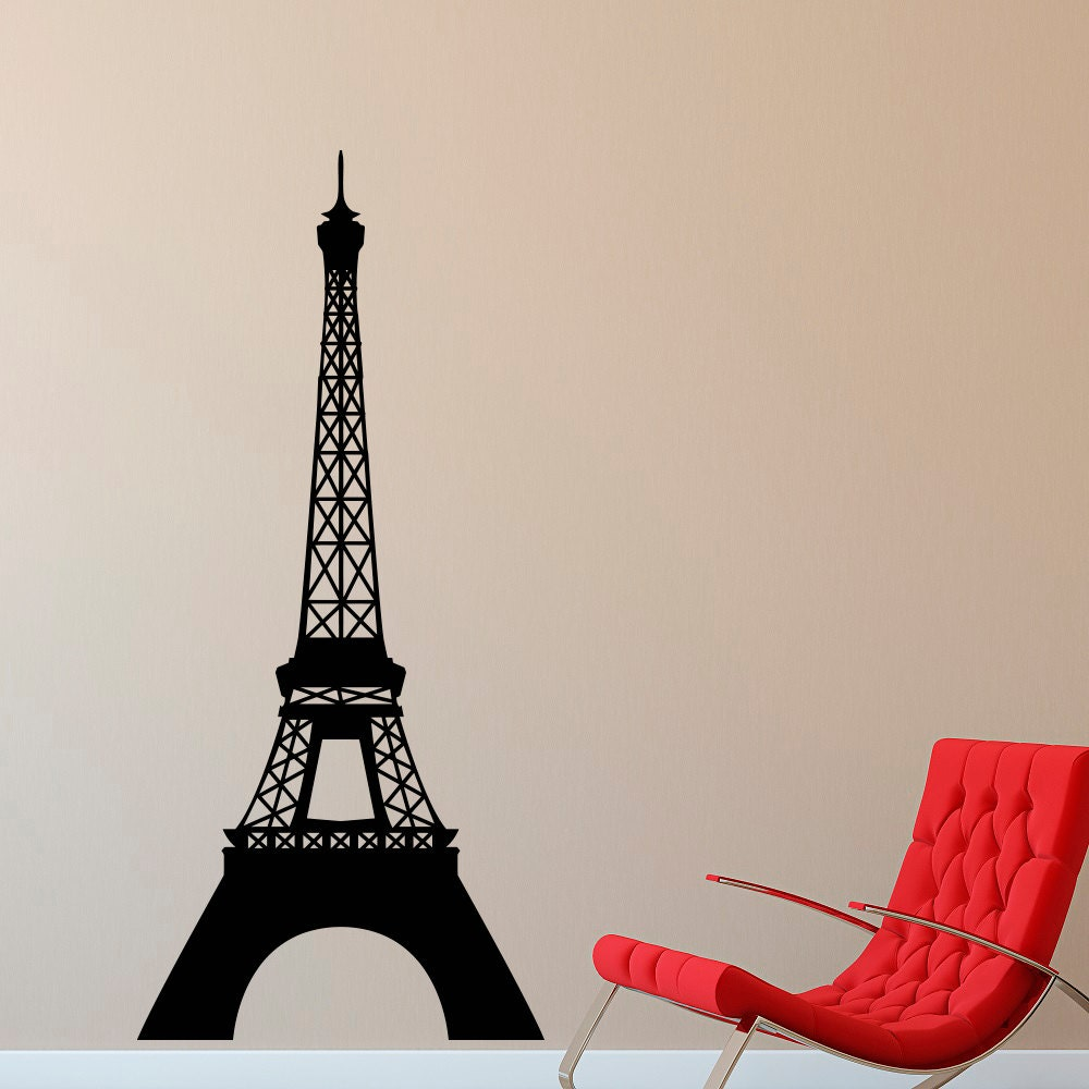eiffel tower wall decal paris theme decor vinyl wall decal. Black Bedroom Furniture Sets. Home Design Ideas