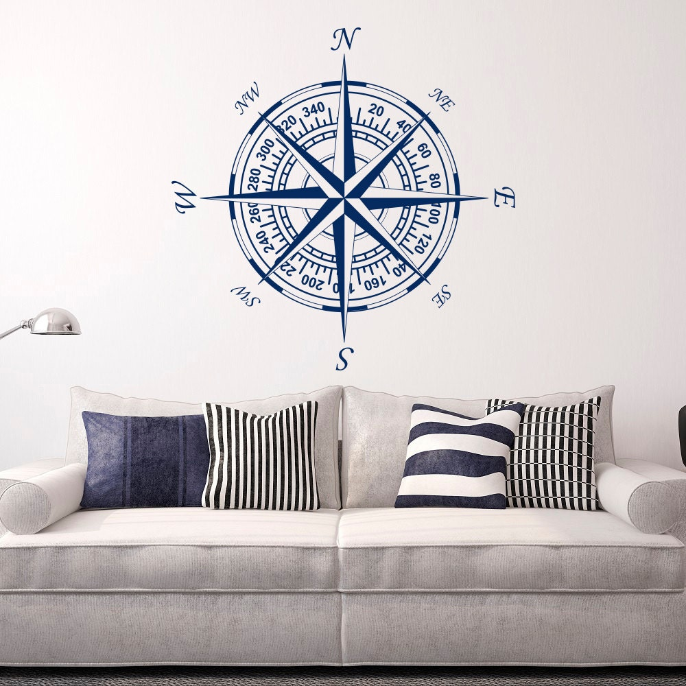 Compass wall decal vinyl stickers nautical decor nautical for Nautical decor