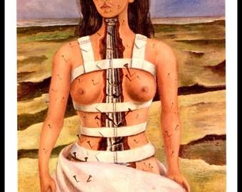 Frida Kahlo 1944 Print, The Broken Column, Vintage Print, Book Plate Print, Ready To Frame