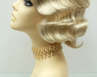 1920's Style Short Blonde Finger Wave Wig. Vintage Style Costume Wig. [02-15-Rosie-613]