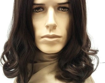 Long 14 Inch Brown Hair Men's Wig. Hippie, Grunge, Jesus Style Wig. Synthetic Costume Wig.[53-284-Russell-6]