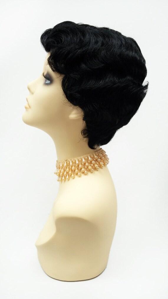 1920s Style Short Black Finger Wave Wig. Marcel Wave Vintage Style Costume Wig. Heat Resistant Wig. [69-353-HTBebe-1]