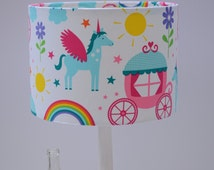 Lampshade, girls bedroom, nursery lamp, unicorn decor, girls nursery, unicorns, rainbow decor, handmade lamp shades, lamp, nursery decor