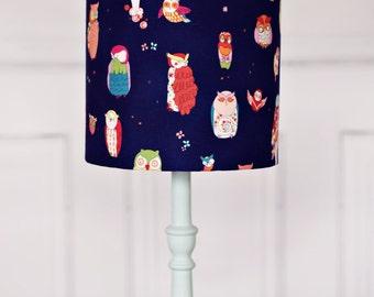 Lampshades, blue owl lamp shade, boys blue nursery, childrens lampshade, owl lampshade, kids owl lamp, owl home decor, woodland bedroom