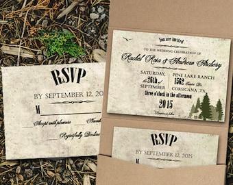 Custom Woodsy wedding invitation pocketfold/Camping wedding invitations/Rustic Wedding/Forest Wedding invitation