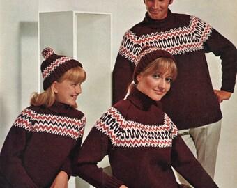 Knitting Pattern - Ski Sweater - Yoked Sweater and Hat Pattern - 24 to 34 inches