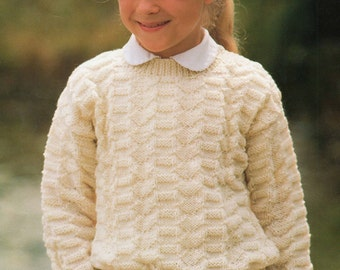 Knitting Pattern - Children's Round Neck Sweater - 22 to 30 inches - Double Knitting