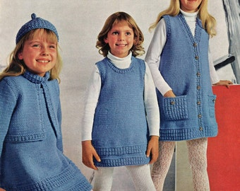 Girl's Knitting Pattern - Knitted Dress, Jacket, Slipover and Hat - 22 to 32 ""