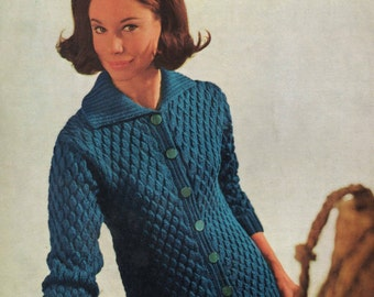 Vintage Knitting Pattern - Ladies Cardigan - 32 to 42 inches - Double knitting