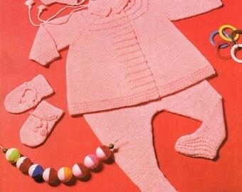 Baby Pram Set Knitting Pattern - Leggings Jacket Bonnet Mittens - 18 -21 inches