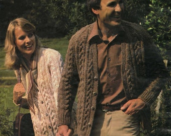 Aran Cardigan Knitting Pattern - Cable Knit - His and Hers - 36 to 46 inches